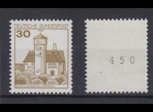 Bund 914 I RM mit gerade Nummer Burgen+Schlösser (I) 30 Pf postfrisch