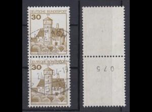 Bund 914 I RM senkr. Paar ungerade Nummer Burgen+Schlösser (I) 30 Pf gestempelt