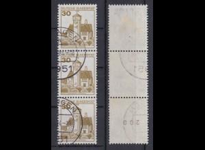 Bund 914 I RM 3er Streifen gerade Nummer Burgen+Schlösser (I) 30 Pf gestempelt