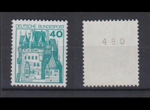 Bund 915 RM gerade Nummer Burgen+Schlösser 40 Pf postfrisch