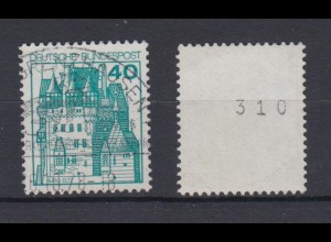 Bund 915 RM gerade Nummer Burgen+Schlösser 40 Pf gestempelt