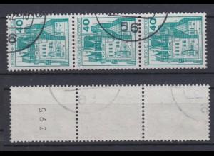 Bund 915 RM 3er Streifen ungerade Nummer Burgen+Schlösser (I) 40 Pf gestempelt