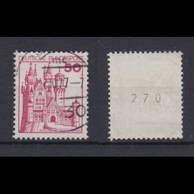 Bund 916 RM mit gerader Nummer Burgen+Schlösser 50 Pf gestempelt /2