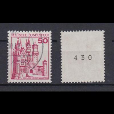 Bund 916 RM mit gerader Nummer Burgen+Schlösser 50 Pf gestempelt /3