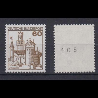 Bund 917 RM mit ungerader Nr. Burgen + Schlösser 60 Pf postfrisch