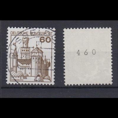 Bund 917 RM mit gerader Nr. Burgen + Schlösser 60 Pf gestempelt Düsseldorf