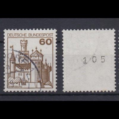 Bund 917 RM mit ungerader Nr. Burgen + Schlösser 60 Pf gestempelt /3