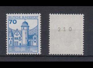 Bund 918 RM mit gerader Nummer Burgen + Schlösser 70 Pf postfrisch
