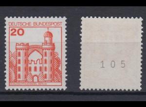 Bund 995 RM mit ungerader Nr. Burgen + Schlösser 20 Pf postfrisch