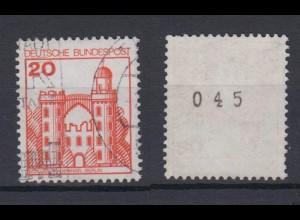 Bund 995 RM mit ungerader Nr. Burgen + Schlösser 20 Pf gestempelt