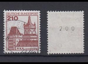 Bund 998 RM mit gerader Nummer Burgen + Schlösser 210 Pf gestempelt /1