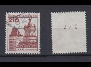 Bund 998 RM mit gerader Nummer Burgen + Schlösser 210 Pf gestempelt /2