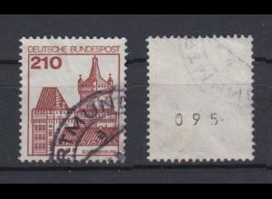 Bund 998 RM mit ungerader Nummer Burgen + Schlösser 210 Pf gestempelt