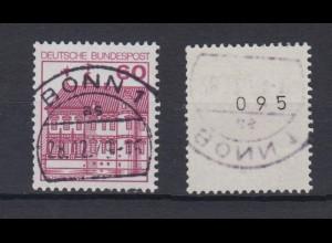 Bund 1028 RM mit ungerader Nummer Burgen + Schlöser 60 Pf gestempelt Bonn