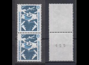 Bund 1347 A RM senkrechtes Paar mit ungerader Nummer SWK 10 Pf postfrisch