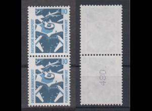 Bund 1347 A RM senkrechtes Paar mit gerader neuer Nummer SWK 10 Pf postfrisch /2