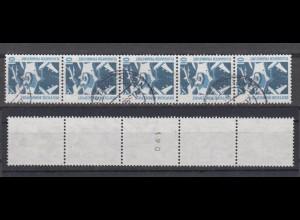Bund 1347 A RM 5er Streifen mit gerader Nummer SWK 10 Pf gestempelt
