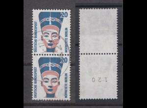 Bund 1398 A RM senkrechtes Paar mit gerader Nummer SWK 20 Pf gestempelt /1