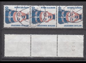 Bund 1398 A RM 3er Streifen mit ungerader Nummer SWK 20 Pf gestempelt