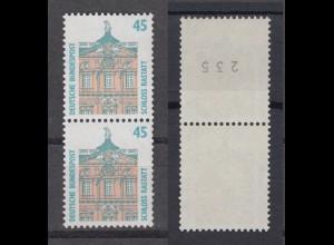 Bund 1468 RM senkrechtes Paar mit ungerader Nummer SWK (VIII) 45 Pf postfrisch