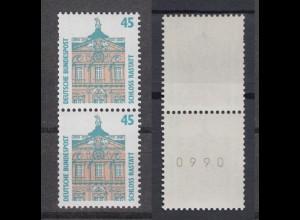 Bund 1468 RM senkrechtes Paar mit gerader 4stelliger Nummer SWK 45 Pf postfrisch