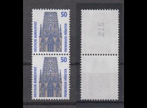 Bund 1340 A RM senkrechtes Paar mit ungerader neuer Nummer SWK 50 Pf postfrisch