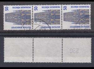 Bund 1340 A RM 3er Streifen mit gerader neuer Nummer SWK 50 Pf gestempelt