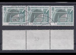 Bund 1342 A RM 3er Streifen mit ungerader neuer Nummer SWK 80 Pf gestempelt