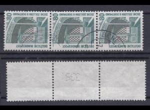 Bund 1342 A RM 3er Streifen mit ungerader neuer Nummer SWK 80 Pf gestempelt /2