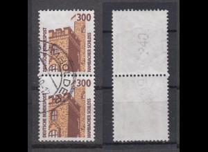 Bund 1348 A RM senkrechtes Paar mit gerader neuer Nummer SWK 300 Pf gestempelt/1