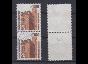 Bund 1348 A RM senkrechtes Paar mit neuer Nummer 005 SWK 300 Pf gestempelt