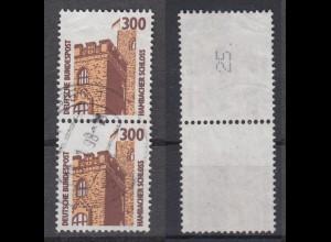 Bund 1348 A RM senkre. Paar mit ungerader neuer Nummer SWK 300 Pf gestempelt /3