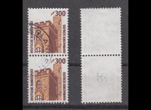 Bund 1348 A RM senkre. Paar mit ungerader neuer Nummer SWK 300 Pf gestempelt /7