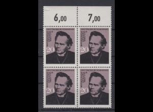 Bund 504 II Plattenfehler 4er Block mit Oberrand Nathan Söderblom 20 Pf ** /2