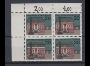 Bund 424 I mit Plattenfehler 4er Block Eckrand links oben Bonn Rathaus 20 Pf **