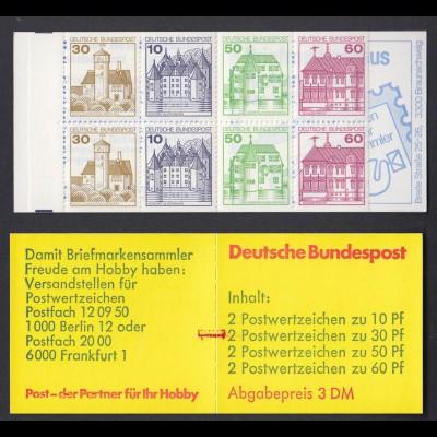 Bund Markenheftchen 23a mit Zählbalken Burgen + Schlösser 1980 postfrisch