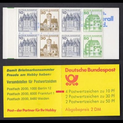Bund Markenheftchen 22 II ad K2 mit Zählbalken Burgen + Schlösser 1980 **