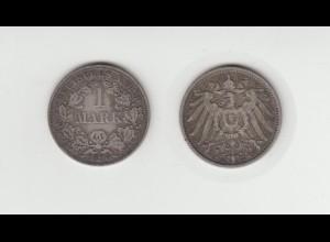 Silbermünze Kaiserreich 1 Mark 1896 A Jäger Nr. 17 /58