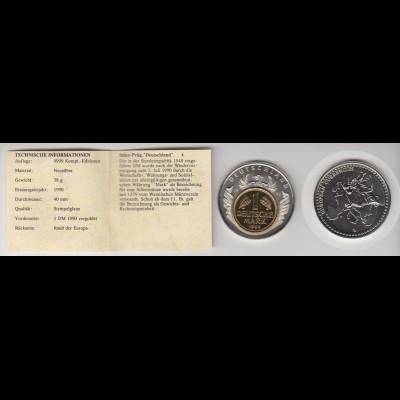 Medaille Inlay Prägung Deutschland Raub der Europa 1990 Stgl. in Kapsel /18