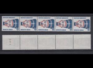 Bund 1398 RM 5er Streifen mit gerade Nummer SWK 20 Pf postfrisch