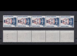 Bund 1398 RM 5er Streifen mit ungerade Nummer SWK 20 Pf postfrisch