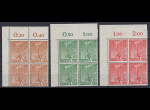 Berlin 88-90 Eckrand links oben 4er Block Vorolympische Festtage 4,10 + 20 Pf **
