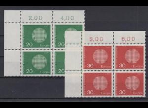 Bund 620-621 Eckrand links oben 4er Block Europa 20 Pf + 30 Pf postfrisch