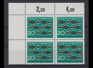 Bund 664 Eckrand links oben 4er Block 125 Jahre Chemiefaserforschung 20 Pf **