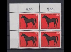 Bund 580 Eckrand links oben 4er Block Jugend Pferde 30+ 15 Pf postfrisch