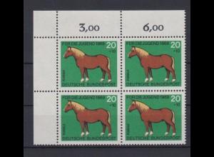 Bund 579 Eckrand links oben 4er Block Jugend Pferde 20+ 10 Pf postfrisch