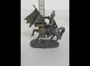 Massiv Zinn Figur Ritter auf Pferd mit Lanze La Balestra made in italy