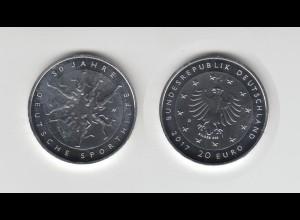 Silbermünze 20 Euro 2017 50 Jahre Deutsche Sporthilfe stempelglanz