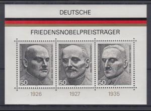 Bund Block 11 Deutsche Friedensnobelpreisträger 3x 50 Pf postfrisch