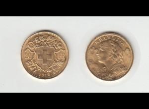 Goldmünze Schweiz Vreneli 20 SFR. 1910 B